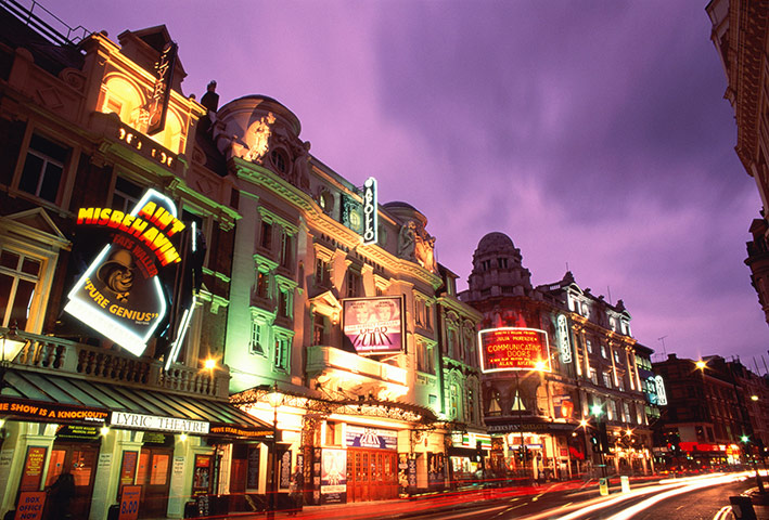 Year in Pics- Theatre: Shaftesbury Avenue theatres at dusk